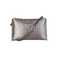 Cavalli Class Grey Leather Clutch Bag