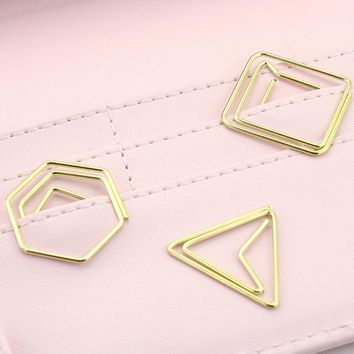 10pcs/pack Brief Style geometric Shaped Metal Paper Clip gold Bookmark Stationery School Office Supply Escolar Papelaria H0093