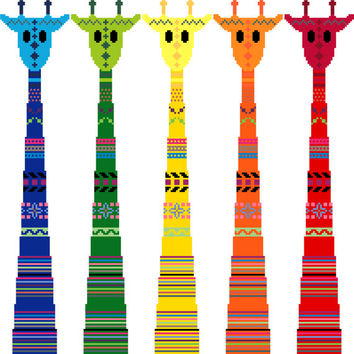 Kaleidoscope of tribal giraffes. Bright contemporary cross stitch pattern. Colourful modern cross stitch design.