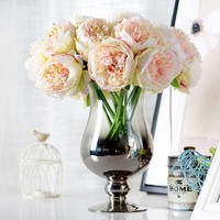 One Bunch Artificial Flower Peony Bridal Bouquet Floral Crafts Wedding Decor