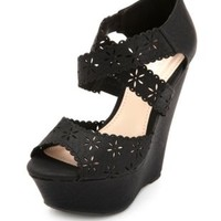 Floral Laser-Cut Platform Wedge by Charlotte Russe - Black