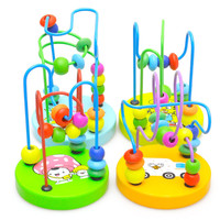 Hot sale Brinquedos wooden toys Children Kids Baby Colorful Wooden  Mini Around Beads Educational Toy free shipping
