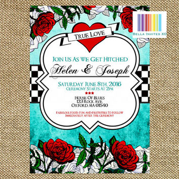 Rock Wedding Invitations, Vintage Invitation, Retro Invite, Tattoo Invitations, Wedding DIY invites, Invite and Save The Date (Digital File)