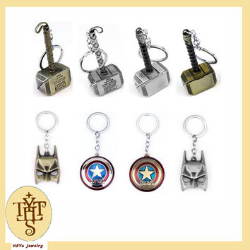 Thor Hammer Keyring The Avengers Marvel Character Captain America Shield Hulk Batman Mask KeyChain Keyrings Drop Shipping