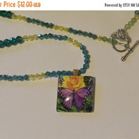 CIJ SALE Purple Butterfly and Yellow Rose Necklace  V4574