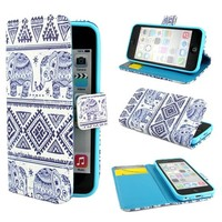 "ivencase Elephants Design Wallet PU Leather Stand Flip Case Cover For Apple iPhone 5C + One ""ivencase "" Anti-dust Plug Stopper"