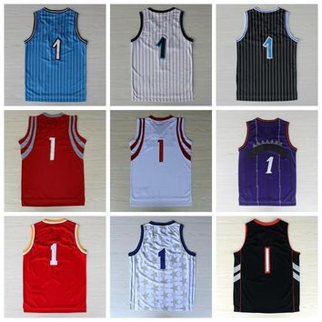 Fashion Basketball Sport Jerseys 2016 Men #1 Throwback Shirt Basket ball Classical Purple Red White Blue Black With Player Name Team Logo