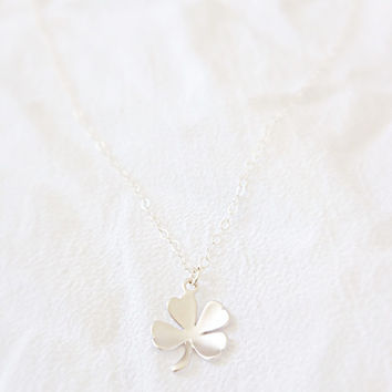 Silver clover necklace, lucky charm necklace, four leaf clover necklace, shamrock necklace, Irish necklace,