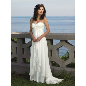 White and ivory A-Line Chiffon Beach Wedding Dress Appliques Beading Sequined Bridal Gowns