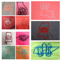 Long Sleeve STATE Comfort Color T-Shirts-  Great for Bridesmaids, Teens, Graduation, Best Friends, Greek, and Birthday Gifts