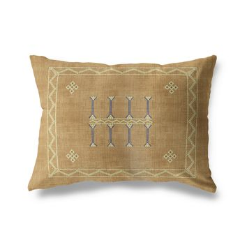 AMULET KILIM SAND Indoor|Outdoor Lumbar Pillow By Becky Bailey