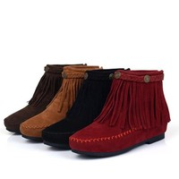 Suede  Leather Moccasin Bootie