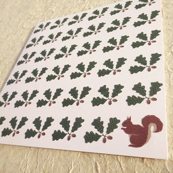Wildlife card, hand illustrated squirrel and acorn design, woodland creature greeting card, gorgeous nature notecard