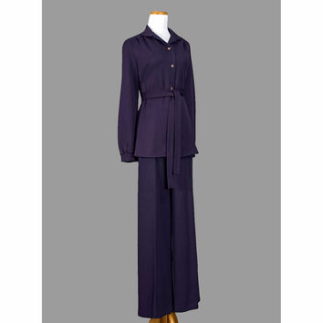 Mod 1970s Pant Suit - Vintage 70s Pantsuit - Eggplant Purple Pant Suit with Belt - Shirt Blouse & Slacks