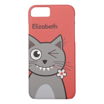 Cute Funny Winking Cartoon Kitty Cat Name iPhone 7 Case