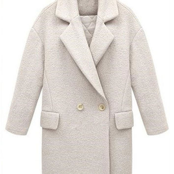 Thick Loose Lapel Duplex Wool Coat