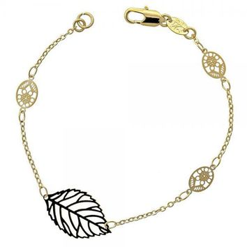 Gold Layered 03.63.1090 Fancy Bracelet, Leaf and Bee Design, Polished Finish, Gold Tone