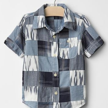 Ikat patchwork shirt