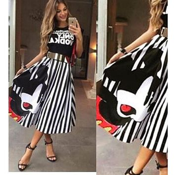 Summer Women Striped A-line Long Skirts Elastic High Waist Kawaii Mickey Maxi Skirt Female Elegant Pleated Beach Midi Skirts z15