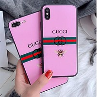 GUCCI Fashion Cute Letter Glass Mobile Phone Cover Case For iphone 6 6s 6plus 6s-plus 7 7plus iPhone 8 8 Plus iPhone X Pink I13847-1