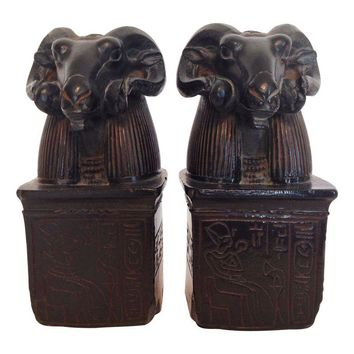 Pre-owned Vintage Egyptian Rams Head Carved Bookends
