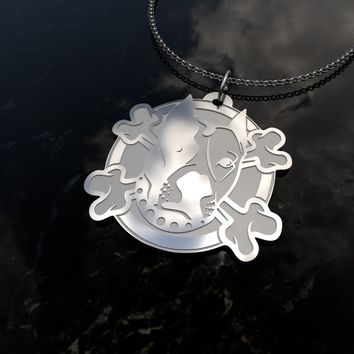 Pit bull, dog head and bones design sterling silver pendant necklace