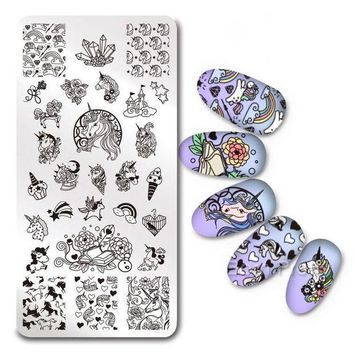 ICIKU7Q 1Pc Rectangle Nail Stamping Plate Unicorn Flower Paisley SKull Rose Template Nail Art Image Plate Stencil for Stamp Polish DIY
