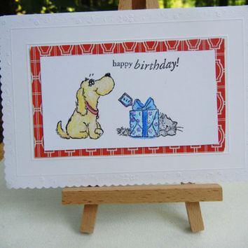 Dog and Cat Birthday Card, Handmade and Perfect for Anyone Who Loves Their Pets: Gray Cat and Golden Blonde Dog
