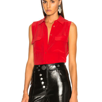 Equipment Sleeveless Slim Signature Blouse in Ribbon Red | FWRD
