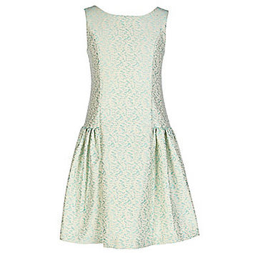 Bonnie Jean 7-16 Novelty Dropwaist Brocade Dress - Aqua