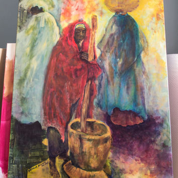 Art Acrylic Painting Original African Figures at Work