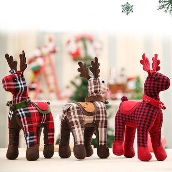 1PC Christmas Doll Ornaments Plaid Deer Doll Kids Gifts Toys Christmas Decoration for Home New Year Party Supplies