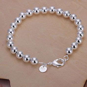Silver plated Jewelry Bracelet Fine Fashion 8MM Rosary Hollow Ball Bracelet Bangle Top Quality