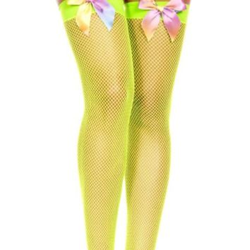 Green (Lime Neon) Rainbow Bow Diamond Fishnet Spandex Thigh High