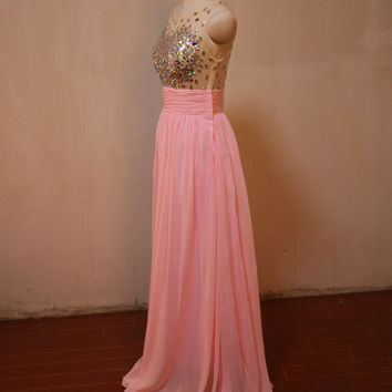 Pink chiffon beaded bridesmaid party dresses,evening dresses,party dress,bridesmaid dress,prom dress,party dresses,long party prom dress