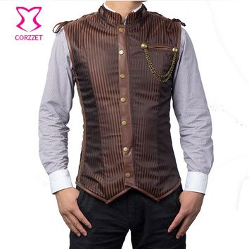 Vintage Brown Striped Stand Collar Overchest Military Steampunk Jacket Coat Mens Waistcoat Gothic Clothing Men Corset Vest