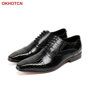 OKHOTCN Luxury Autumn Genuine Leather Men Wedding Brogue Shoes Wingtip Lace Up Black Office Party Formal Oxford Dress Shoes