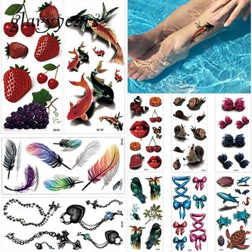 10 Sheets 3D Temporary Tattoo Sticker Colorful Feather Animal Fruit Style Women Back Sleeve Body Art Tattoo Fake Sticker Holiday