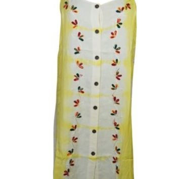 Bohemian Tie Dye Tank Dress Yellow Floral Embroidered Summer Rayon Shift Dresses