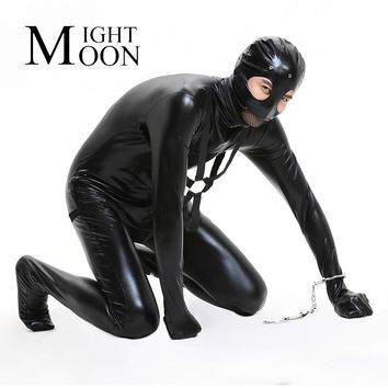 MOONIGHT Black Thief Costume For Men Adult Latex Leotard Men Cosplay Unitard Halloween Party Masked Prisoner Costumes