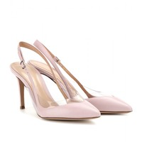 gianvito rossi - leather sling-back pumps with transparent insert