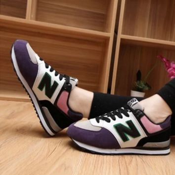 NEW BALANCE Women Fashion Casual Running Sport Shoes Sneakers  Purple+White+Pink G