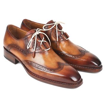 Paul Parkman Goodyear Welted Ghillie Lacing Wingtip Brogues Shoes (ID#2955-CML)