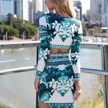 GAME PLAN TOP , DRESSES, TOPS, BOTTOMS, JACKETS & JUMPERS, ACCESSORIES, 50% OFF , PRE ORDER, NEW ARRIVALS, PLAYSUIT, COLOUR, GIFT VOUCHER,,Green,Print,CROP,LONG SLEEVES,MINI Australia, Queensland, Brisbane