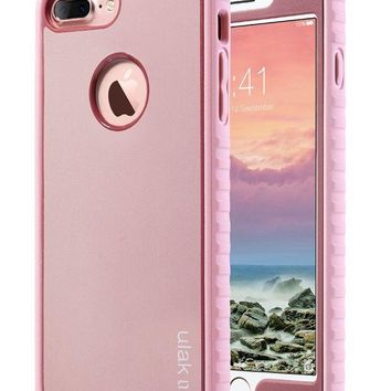 LMFMS6 iPhone 7 Plus Case, ULAK iPhone 7 Plus Case Slim Shockproof Flexible TPU Bumper Case Durable Anti-Slip Lightweight Front and Back Hard Protective Safe Grip Cover for iPhone 7 Plus 5.5 inch Rose Gold