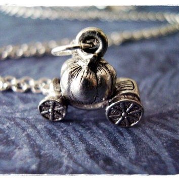 Silver Pumpkin Coach Necklace - Antique Pewter Pumpkin Coach Charm on a Delicate 18 Inch Silver Plated Cable Chain