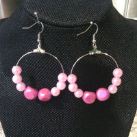 Pink Hoop Earrings - Silver Hoops with Fushia and Light Pink Beads - Pretty in Pink Hoops