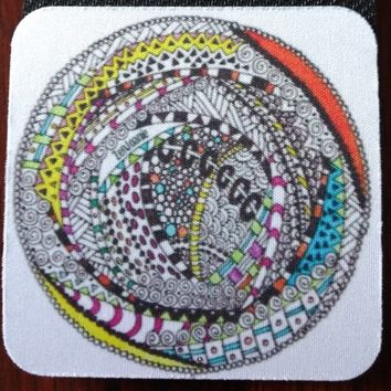 "Zentangle Coasters - Fun Drinking Coasters - Set of Artistic Coasters hand drawn by ZenJoanie - ""RoundAbout"""