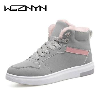WGZNYN 2018 Women Winter Boots Warm Platform Snow Ankle Boots Women Casual Shoes Round Toe Sneakers Female Botas Mujer #0402