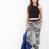 FOREVER 21 Checkered Rich Graphic Sweatpants White/Black